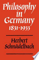 Philosophy in Germany 1831-1933