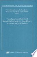 Fremdsprachendidaktik und Sprachlehrforschung als Ausbildungs  und Forschungsdisziplinen