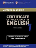Cambridge Certificate of Proficiency in English 1 Student's Book with Answers