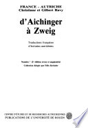 D Aichinger    Zweig   Traductions fran  aises d   crivains autrichiens   bibliographie