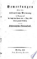 Bemerkungen   ber die   ffentliche Meinung in Bezug auf die durch das Patent vom 1  Juny 1816 bekannt gemachte Erichtung einer   sterreichischen Nationalbank