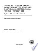 Spatial And Seasonal Variability In Water Quality Of Devils Lake North Dakota September 1988 Through October 1990