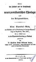 Über den Zustand und die Verhältnisse der neuen protestantischen Theologie und der Religionslehre