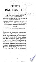 Opinion des Anglais sur le livre de Montesquieu    l occasion de l analyse d un ouvrage     intitul    Outlines of the Science of Politics     traduite  from an article in the Anti Jacobin Review  for November  1814  par M  le Chevalier Delafons