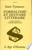 Formalisme et histoire litt  raire
