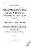 Suomalaisen kirjallisuuden seuran kirjaston luettelo