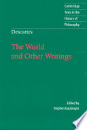 Descartes  The World and Other Writings