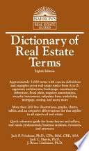 Dictionary of Real Estate Terms  8th edition