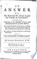 An Answer to the Reverend Mr. George Logan's Late Treatise on Government