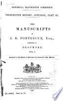 The Manuscripts of J  B  Fortescue  Esq