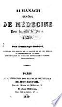 illustration Almanach général de médecine, pour la ville de Paris. 1839