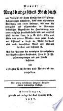 Neues Augsburgisches Kochbuch mit Inbegriff der   ltern Vorschriften 956 Speise Zubereitungen enthaltend