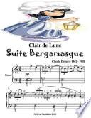 Clair De Lune Suite Bergamasque - Easy Elementary Piano Sheet Music Junior Edition