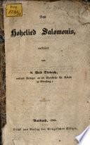 Das Hohelied Salomonis