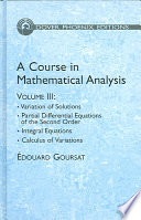 A Course in Mathematical Analysis Volume 3