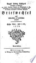 August Ludwig Schlözer's Briefwechsel