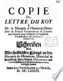 Copie de Lettre du Roi    Mr  le Marquis d Humieres