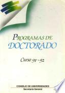 Programas de Doctorado  Curso 91 92