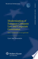 Modernization of European Company Law and Corporate Governance