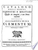 Catalogo degli ordini equestri e militari