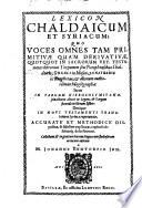 Lexicon Chaldaicum et Syriacum
