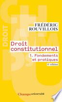 Droit Constitutionnel Tome 1 Fondements Et Pratiques