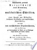 Wissenschaftlich geordnetes Verzeichniß einer Sammlung von musikalischen Schriften