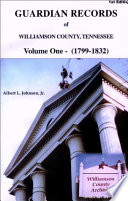 Guardian Records of Williamson County, Tennessee 1799-1832