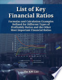 List of Key Financial Ratios  Formulas and Calculation Examples Defined for Different Types of Profitability Ratios and the Other Most Important Financial Ratios