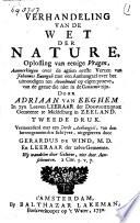 Verhandeling Van De Wet Der Nature