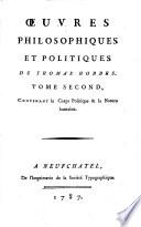 Oeuvres philosophique et politiques de Thomas Hobbes