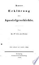 Kurze Erklärung der Apostelgeschichte