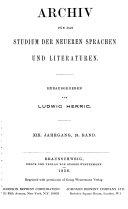 Archiv f  r das Studium der neueren Sprachen und Literaturen
