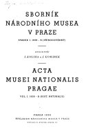 Sborn  k N  rodn  ho muzea v Praze