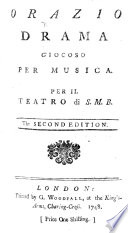 Orazio ... Second edition. [Italian and English versions of the libretto by Antonio Palomba.]