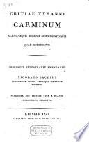Carminum aliorumque ingenii monumentorum quae supersunt