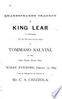 Shakespeare s Tragedy of King Lear as Performed for the First Time on Any Stage