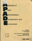 Abstracts of Public Administration  Development  and Environment