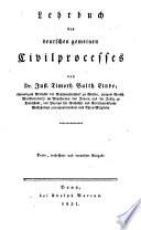 Lehrbuch des deutschen gemeinen Civilprocesses