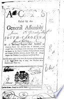 Acts Passed by the General Assembly of South-Carolina