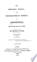 The Rhetoric, Poetic, and Nicomachean Ethics of Aristotle