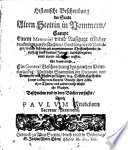Historische Beschreibung der Stadt Alten Stettin in Pommern, sampt einem Memorial ... etlicher denkwürdigen Geschichten etc