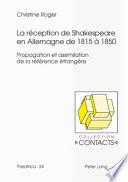 La réception de Shakespeare en Allemagne de 1815 à 1850