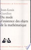 illustration Du mode d'existence des objets de la mathématique