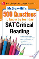McGraw Hill   s 500 SAT Critical Reading Questions to Know by Test Day