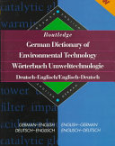 Routledge German Dictionary of Environmental Technology