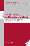 Social  Cultural  and Behavioral Modeling