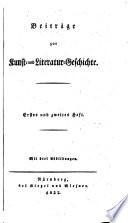 Beiträge zur Kunst und Literatur-Geschichte