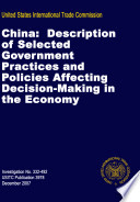 China  Description of Selected Government Practices and Policies Affecting Decision Making in the Economy  Inv  332 492