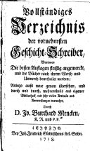 Vollständiges Verzeichnis der vornehmsten Geschicht-Schreiber